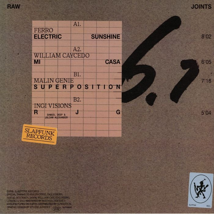 "( SLPFNK 020 ) FERRO / WILLIAM CAYCEDO / MALIN GENIE / INGI VISIONS - Raw Joints #6.1 (180 gram vinyl 12"") SlapFunk Netherlands"