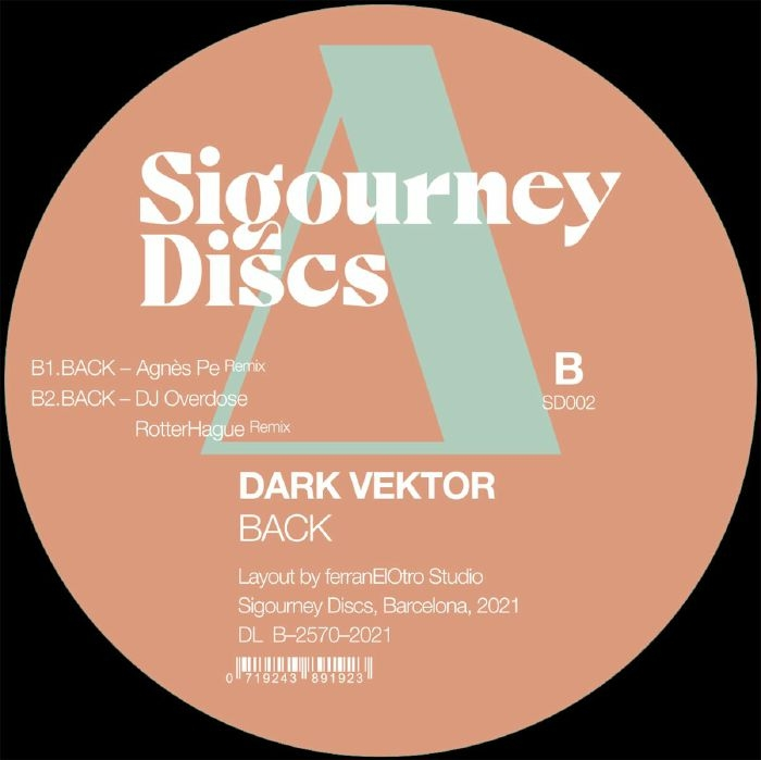 "( SD 002 ) DARK VEKTOR / DJ OVERDOSE / AGNES PE - Back (12"") Sigourney Discs Spain"