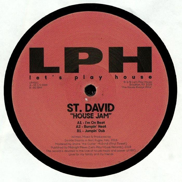 "( LPH 061 ) ST DAVID - House Jam (12"") Let's Play House US"