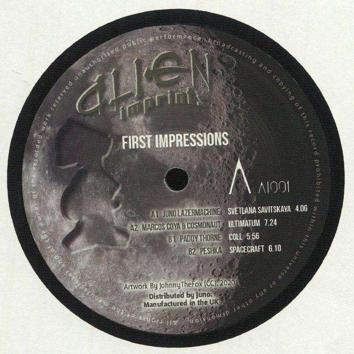 "( AI 001 ) JUNO LASERMACHINE / MARCOS COYA / COSMONAUT / PADDY THORNE / PESHKA - First Impressions (12"") Alien Imprints"