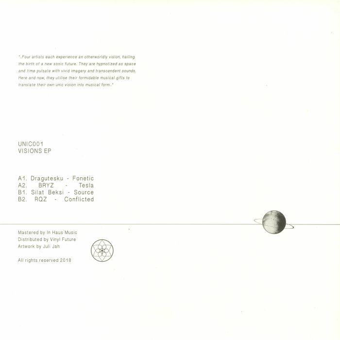 "( UNIC 001 ) DRAGUTESKU / BRYZ / SILAT BEKSI / RQZ - Visions EP (heavyweight vinyl 12"") Unic Australia"