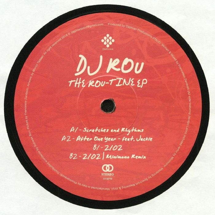 "( DPV 003 ) DJ ROU - The Rou Tine EP (heavyweight vinyl 12"") Daphian Productions Italy"