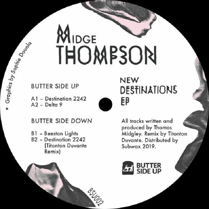 """( BSU 002 ) Midge THOMPSON - New Destinations EP (12"""") Butter Side Up"""