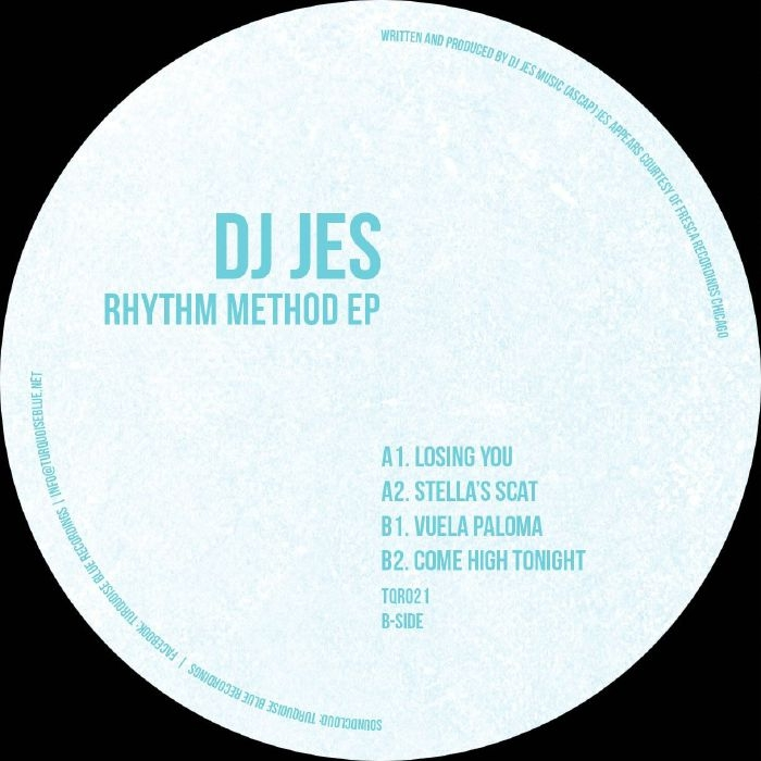 "( TQR 021 ) DJ JES - Rhythm Method EP (white with turquoise splattered vinyl 12"") Turquoise Blue"