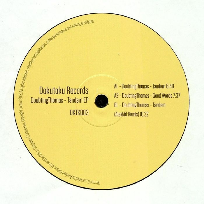 "( DKTK 003 ) DOUBTINGTHOMAS - Tandem EP (12"") Dokutoku"