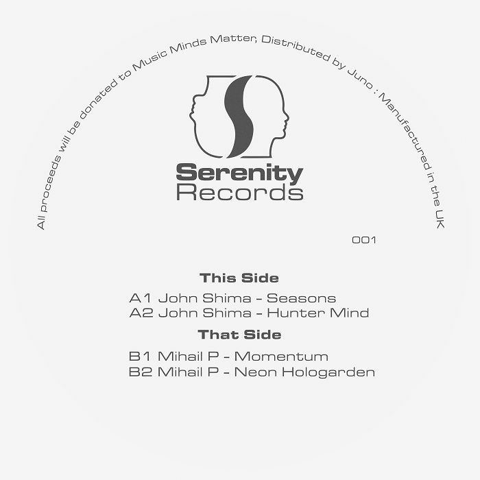 "( SER 001 ) John SHIMA / MIHAIL P - John Shima & Mihail P for Music Minds Matter (180 gram vinyl 12"") Serenity"