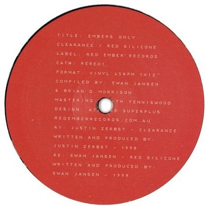 "( RERE 01 ) Justin ZERBST / EWAN JANSEN - Embers Only (reissue) (12"") - Red Ember Australia"