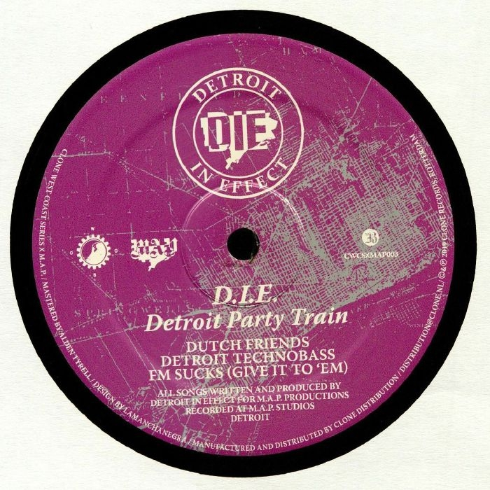 """( CWCSXMAP 003 ) DETROIT IN EFFECT -  Detroit Party Train (remastered) (12"""") Clone West Coast Series Holland"""