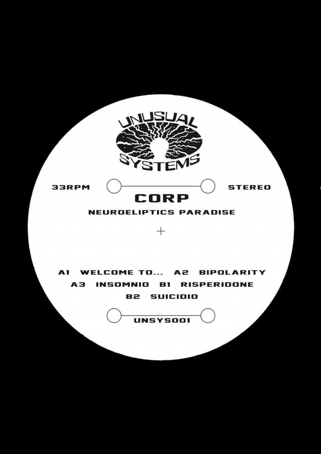 "( UNSYS 001 ) CORP ‎– Neuroeliptics Paradise (Only Vinyl 12"") Unusual Systems"