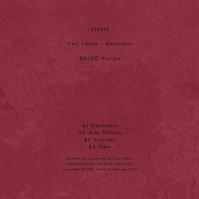 "( VIS 312 ) Carl FINLOW - Electronic (140 gram vinyl 12"") 20/20 Vision"