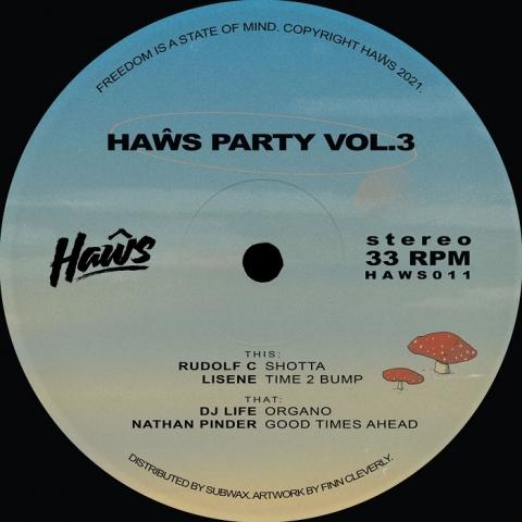 "( HAWS 011 ) RUDOLF C / LISENE / DJ LIFE / NATHAN PINDER - Haws Party Vol 3 (12"") Haws"