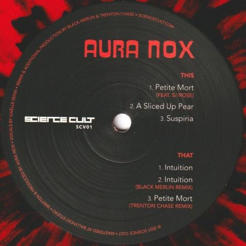 "( SCV 01 ) AURA NOX- Levana's Tears (feat. S//Rose, remixes by Black Merlin & Trenton Chase) (red / black splatter 12"") Science Cult"