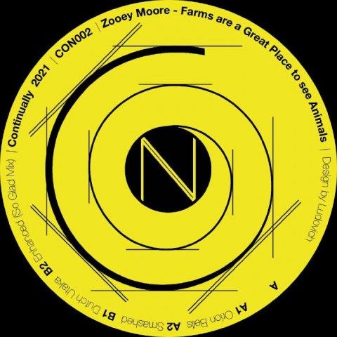 """( CON 002 ) Zooey MOORE - Farms Are A Great Place To See Animals (12"""") Continually Norway"""