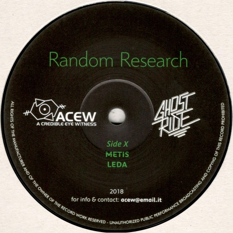 "( ACEW 008 ) A CREDIBLE EYE WITNESS & GHOST RIDE - Random Research (vinyl 12"") ACEW"