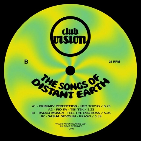 "( CV 06 ) PRIMARY PERCEPTION / FIO FA / PAOLO MOSCA / SASHA NEVOLIN - The Songs Of Distant Earth (12"") Club Vision Italy"