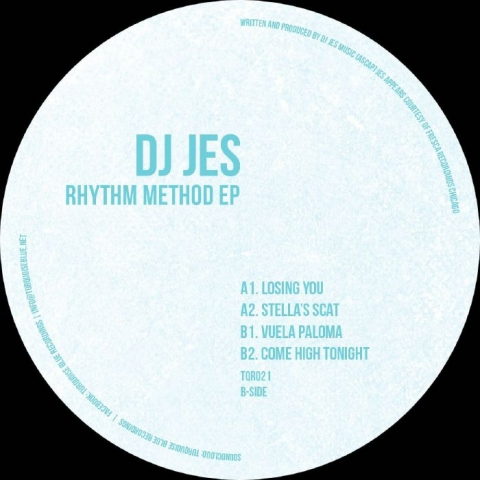 "( TQR 021 ) DJ JES - Rhythm Method EP (white with turquoise splattered vinyl 12"") Turquoise Blue"