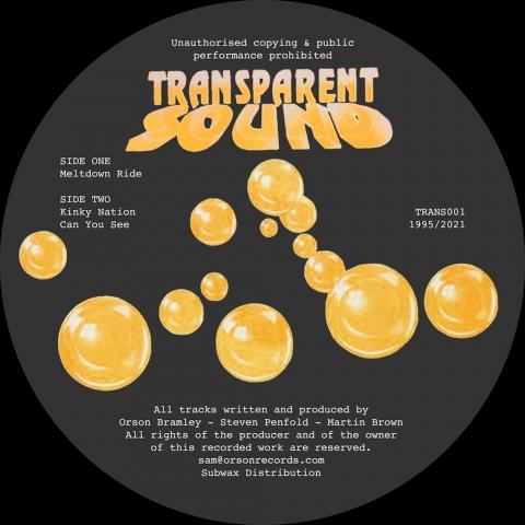 "( TRANS 001 ) TRASPARENT SOUND - Meltdown Ride ( 12"" vinyl ) Transparent Sound Recordings"