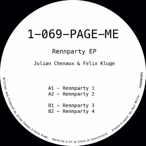 """( PAGEME 002 ) Julian CHENAUX / FELIX KLUGE - Reenparty EP (12"""") 1-069-PAGE-ME"""