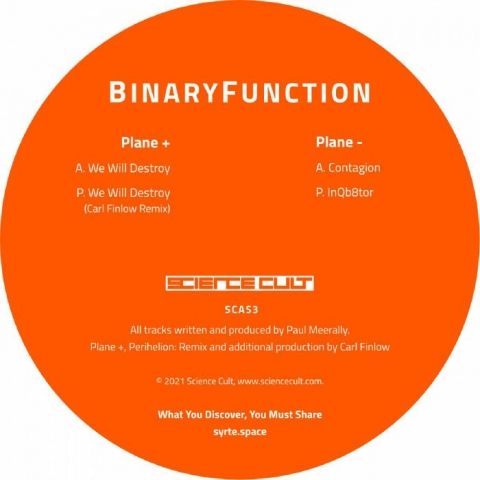 "( SCAS 3 ) BINARYFUNCTION - 589 592 (orange vinyl 12"") Science Cult"
