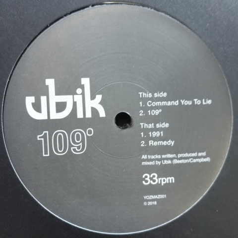 "( YOZMAZ 001 ) UBIK - 109° (re-issued 12"" Vinyl EP) Yozmaz"