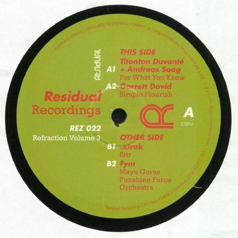 "( REZ  022 ) Titonton DUVANTE/ANDREAS SAAG/GARRETT DAVID/XTRAK/FYM -  Refraction Vol 3 (180 gram vinyl 12"") Residual US"