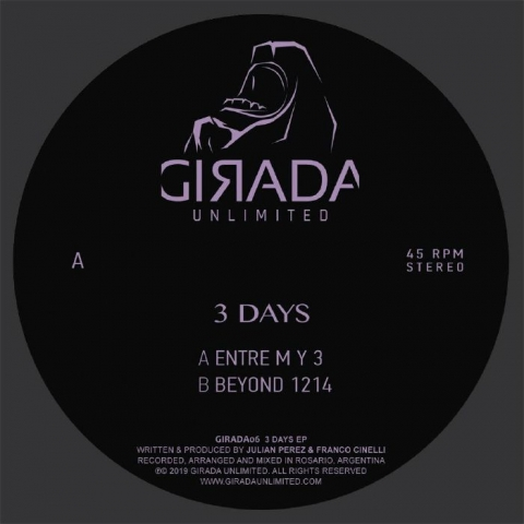 "( GIRADA 06 ) Julian PEREZ / FRANCO CINELLI - 3 Days EP (12"") Girada Unlimited Spain"